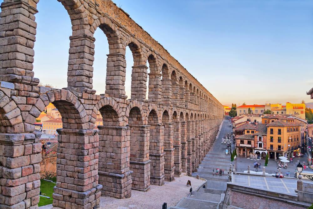 Ancient Roman aqueduct in Segovia, Spain