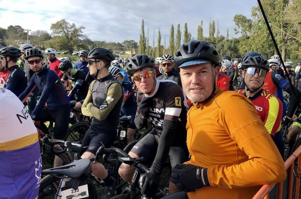 Startline of the Dirty Pig & Whistle event. Partner of Ride International, Legend Phil Anderson centre (B&W kit), Darren Baum of Baum Cycles centre (orange jacket), and Allan Iacuone former Australian Champion right (red & yellow stripe jersey).